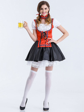 Anime Costumes AF-S2-626295 Halloween Sexy Costumes Beer Girl Women's Red Skater Dress With Choker