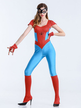 Anime Costumes AF-S2-626255 Halloween Costume Spiderman Women's Short Sleeve Cosplay Jumpsuit Outfit In 3-Piece