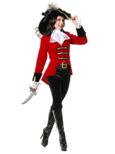 Anime Costumes AF-S2-626221 Sexy Halloween Costume Pirate Women's Red Outfit With Hat