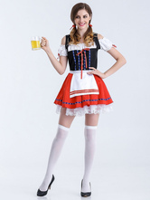 Anime Costumes AF-S2-626299 Halloween Costumes Beer Girl Women's Red Skater Dress