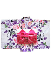 AF-S2-627575 Halloween Sexy Costume Japanese Kimono With Floral Print Bow Cotton For Women