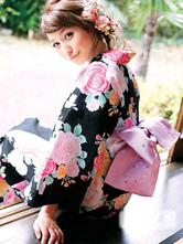 Anime Costumes AF-S2-627613 Beautiful Peony Print Kimono Cotton Costumes For Halloween