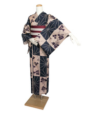Anime Costumes AF-S2-627573 Sexy Japanese Kimono Halloween Costume With Plaid Floral Print Cotton