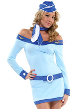 Anime Costumes AF-S2-627521 Halloween Costume Sexy Airhostess Off-the-shoulder Belted Short Dress With Sash &hat