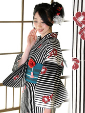 AF-S2-627589 Halloween Sexy Kimono Costume With Floral Print Stripe Cotton Bow For Women