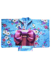 Anime Costumes AF-S2-627567 Halloween Sexy Kimono Costume With Blue Floral Print Cotton For Women