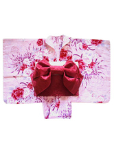 Anime Costumes AF-S2-627603 Pink Floral Print Kimono With Bow Halloween Costumes
