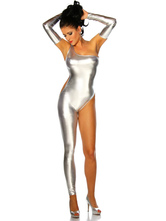 Anime Costumes AF-S2-627519 Halloween Sexy Costume Silver Catsuit Women's One Leg Outfit With Armwear