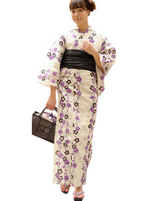 AF-S2-627559 Sexy Kimono Costume Halloween With White Floral Print Cotton For Women