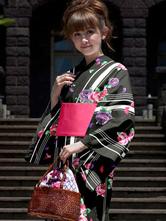 Anime Costumes AF-S2-627615 Halloween Black Kimono Floral Print Sash Costume For Women