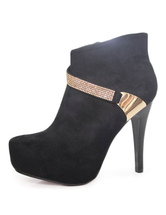 Women's Ankle Boots Black High Heel Booties Suede Pointed Toe Short Winter Boots With Golden Straps