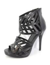 Black Heel Sandal Booties Gladiator High Heels Women's Open Toe Zipper Sandals