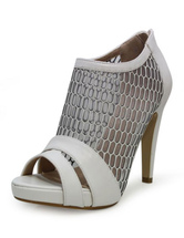 Peep Sandal Booties White High Heel Women's Mesh Zipper Sandals