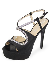 High Heel Sandals Black Platform Women's Rhinestone Ankle Strap Open Toe Party Sandals