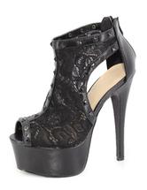 Lace Heel Sandal Booties Black High Heels Peep Platform Women's Spike Zipper Party Sandals