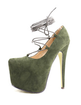 Sexy High Heels Platform Lace Up Women's Hunter Green Pumps