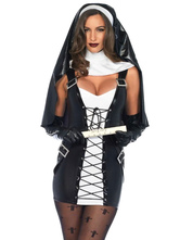Anime Costumes AF-S2-628861 Halloween Sexy Nun Costume Criss Cross Bucked Short Dress With Headdress
