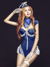 Anime Costumes AF-S2-628917 Sexy Airhostess Costume Halloween Women's Royal Blue Outfits Bodycon Uniform Teddy With Scarf