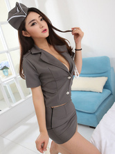 Anime Costumes AF-S2-628897 Halloween Sexy Airhostess Costume Gray Women's V-neck Top With Short Skirt