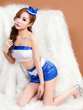 Anime Costumes AF-S2-628899 Halloween Sexy Airhostess Costume Women's Blue Belted Short Skirt With Strapless Top & Hat