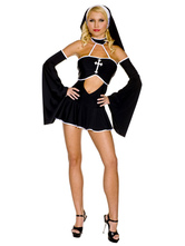 Anime Costumes AF-S2-628873 Halloween Sexy Nun Costume Armwear Cut Out Ruffed Short Dress In Set