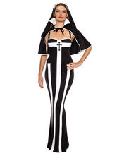 Anime Costumes AF-S2-628869 Women's Halloween Nun Costume Spaghetti Striped Long Dress With Cape & Hat