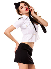 Anime Costumes AF-S2-628903 Halloween Sexy Airhostess Costume White Women's Shirt Costume Outfit In 4-piece
