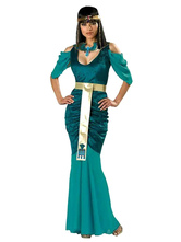 Anime Costumes AF-S2-629403 Halloween Costume Greek Dark Blue Open Shoulder Ruffle Mermaid Long Dress With Headgear