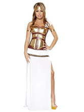 Anime Costumes AF-S2-629407 Halloween Costume Greek Warrior White One Sleeve Slit Sexy Outfits