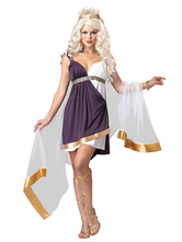 Anime Costumes AF-S2-629389 Halloween Costume Greek Women's Two Colors Strappy Ruffle Dress With Shawl