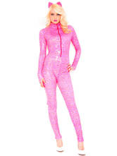 Anime Costumes AF-S2-629437 Halloween Sexy Leopard Costume Women's Pink Zentai Catsuits Zipper Long Sleeve Jumpsuit With Headgear