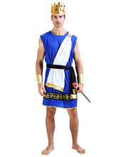 Anime Costumes AF-S2-629415 Halloween Sexy Zeus Costume Greek King Men's Blue Dress With White Shawl