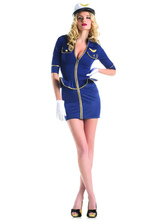 Anime Costumes AF-S2-629451 Halloween Sexy Airhostess Costume Women's Half Sleeve Royal Blue Short Bodycon Dress With Hat