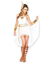 Anime Costumes AF-S2-629417 Halloween Greek Goddess Sexy Costume Women's White High Low Dress With Wing Headgear