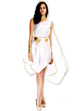 Anime Costumes AF-S2-629419 Halloween Sexy Greek Goddess Costume Women's White Dress With Golden Applique