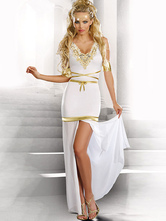 Anime Costumes AF-S2-629405 Halloween Costume Greek Goddess White Sleeveless Slit Outfit