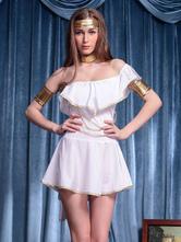 Anime Costumes AF-S2-629363 Greek Goddess Costume Outfits Halloween White One Shoulder Skater Dress