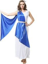 Anime Costumes AF-S2-629383 Halloween Costume Greek Sleeveless Two Colors Long Dress With Sash & Headgear
