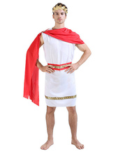 Anime Costumes AF-S2-629423 Halloween Zeus Costume Sexy Greek King Men's White Dress Set With Red Shawl