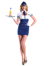 Anime Costumes AF-S2-629449 Halloween Airhostess Costume Sexy White Striped Short Sleeve Cut Out Women's Color Block Short Sheath Dress With Hat & Tie