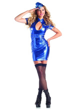 Anime Costumes AF-S2-629453 Halloween Airhostess Costume Sexy Blue Cut Out Women's Short Bodycon Dress With Hat