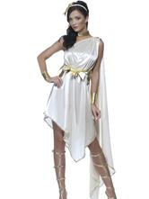 Anime Costumes AF-S2-629401 Halloween Costume Greek Goddess White Asymmetrical Bowed Dress Set For Women
