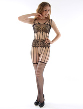 Black Body Stocking Sexy Cut Out Women's Printed Sheer Fishnet Lingerie Stocking