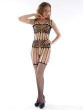 Black Body Stocking Sexy ausgeschnittene Damen gedruckt schiere Netzstrumpf Dessous