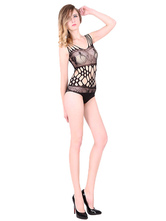 Sexy Black Bodysuit Women's Cut Out Sheer Printed Fishnet Body Lingerie
