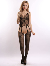 Sexy Black Bodystocking Cut Out Women's Fishnet Stocking Lingerie