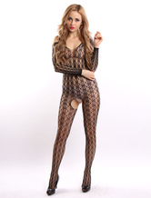 Black Crotchless Bodystocking Women's Printed Fishnet Lingerie Stockings