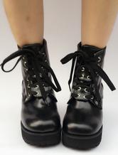 Lolitashow Black Lolita Boots Platform Chunky Heel Round Toe Lace Up Lolita Short Boots