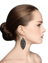 Balck Drop Earrings Elegant Cut Out Leaf Dangle Earrings