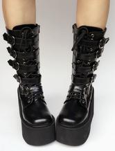 Lolitashow Lolita Platform Boots Black Wedge Buckle Lace Up Round Toe Lolita Short Boots
